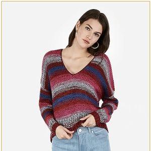 EXPRESS Striped Split Back V-Neck Sweater Size M